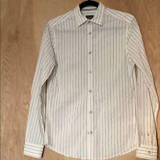 Armani Men's White and Black Striped Long Sleeve Snap Closure Dress Shirt  XS
