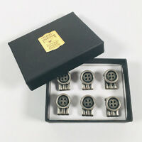 ALBERT THURSTON Antique Stye Clip-On Buttons for Braces Pack of 6 - BRAND NEW
