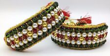 TRADITIONAL INDIAN CUFF BRACELET PUNCHI PAIR GOLD & COLOR BEADS STRUNG IN CHORD