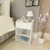 3 Layer W/Drawer Night Stand Bedside Organizer Bookcase Bedroom Nightstand White