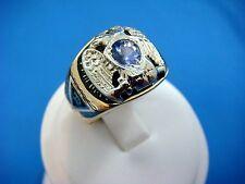 14K SOLID GOLD BLACK & WHITE ENAMEL MEN'S MASONIC RING WITH TANZANITE,18.4 GRAMS