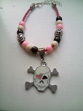 skull and crossbones bead & charm bracelet