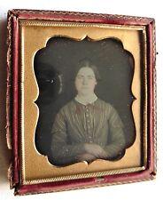 DAGUERREOTYPE PHOTO JEUNE FEMME cadre doré PHOTOGRAPHIE ANCIENNE P37