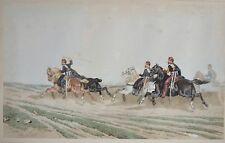 Aquarelle Originale de Theodore FORT - Chevaux au galop - Napoléon III - Guerre