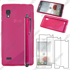 Housse Etui Coque Silicone S-line Rose LG Optimus L9 P765 + Stylet + 3 Films