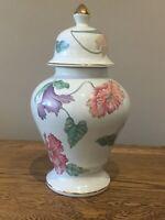 Vintage Large Ginger Jar. Pink/ Purple Floral 28 Cm