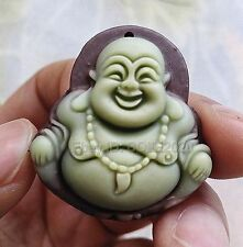 Chinese ZiPaoYu Purple Jade Carved Laughing Buddha Lucky Pendant + Rope Necklace