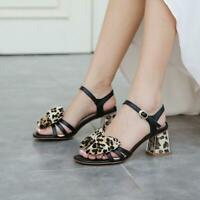 Womens Fashion Leopard Square Toes Bow Knot  Sandals Block Heels Shoes