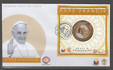Philippine Stamps 2015 Coinage stamp of Pope Francis on First Day Cover