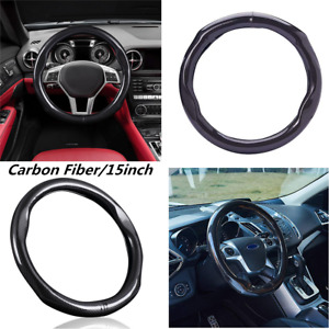 Steering Wheel Cover 38cm/15 in Carbon Fiber Black Skidproof Fit For All Car SUV