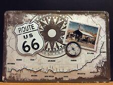 US Ruta 66 brújula Metal SIGN pared decoración garaje American Hot Rod