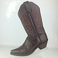 VTG Tony Lama Brown Red Maroon Leather Western Cowboy Boots Womens Size 6.5 M