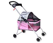 New BestPet Cute Pink Posh Pet Stroller Dogs Cats w/Cup Holder
