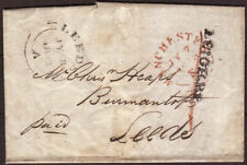1843 PRE-STAMP ENTIRE 'LEIGH P.P' (MANCHESTER) CANCEL TO LEEDS & MANUSCRIPT '1'