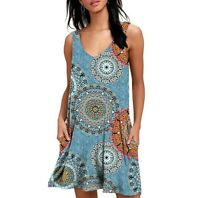 Boho Mandala Shift Sleeveless Dress SZ M NEW