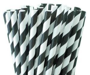 RETRO BLACK & WHITE STRIPE 20CM BIODEGRADABLE  PAPER STRAWS PACK OF 50