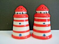 "Lighthouse Salt and Pepper set Retro - Small 2 1/2"" x 1 1/2"" Red and white, EUC"