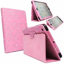 CASE FOR APPLE IPAD 2 3 4 PINK DIAMOND BLING GLITTER PU LEATHER COVER