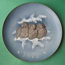 HUTSCHENREUTHER GRANGET Pate-sur-pate SPARROW SAFE TOGETHER Collector 1972 PLATE