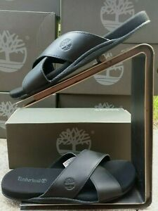 NEW TIMBERLAND MEN'S SANDALS SEATON BAY STRAP BLACK LEATHER SIZE UK 8.5 RRP £65