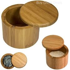Bamboo Salt Box Spice Herbs Container Jar Seasoning Rack Storage Pot - New