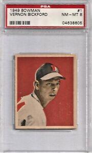 1949 Bowman Baseball # 1 Vern Bickford PSA 8