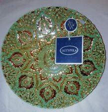 "Azzurra Decorative Handmade Turkish Glass Bowl Green & Gold 8.5"""