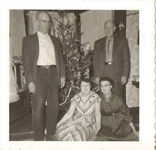 Old Vintage Photograph Two Couples Standing By Christmas Tree Retro Livingroom