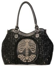Gothic RIBCAGE Flocked Elegant Handbag Shoulder Bag by Banned Black Punk Rock