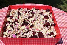Dried rose petal confetti in container 27 cm x 26 cm x 7cm