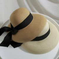 Vintage Straw Sun Hat Foldable Roll Up Fedora Beach Hat Bow Wide Brim Women Caps