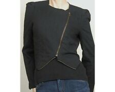 New Nordstrom Lush 100% Linen Black Jacket Size Small Slant Zipper $96 retail