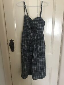 Dotti black and white check midi dress with front pockets size 6