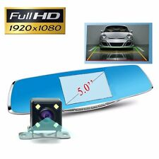 5'' Car Dvr Tachograph Dual Lens Cam Rear View Mirror Full Hd Ir Night Vision
