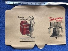 Vintage Coca Cola Unfolded Let Freedom Ring Book Cover 1940 Size # 2