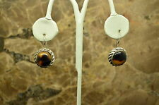 925 STERLING SILVER UNIQUE TWO TONE RESIN CABACHON  FISHHOOK EARRINGS #X-14890