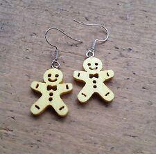 Gingerbread man Drop Earrings Yellow Cute Kitsch Candy Gift