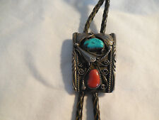 Bennett sterling silver w/turquoise & coral southwestern design bola tie