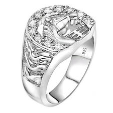 Men's Real Sterling Silver .925 CZ Stones Horse Shoe Ring Sizes 6-14 w/Gift Box