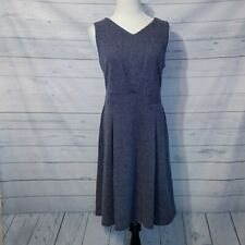 Talbots blue white career business dress size large