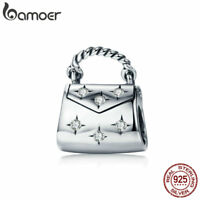 Bamoer S925 Sterling Silver European Charm elegant handbag Fit Bracelet Jewelry
