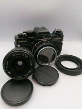 Pentacon Praktica B200 vintage analog camera set, Prakticar 50mm 28mm lenses