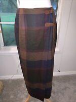 VTG 80s Lauren Ralph Lauren Tartan Plaid Maxi Wool Skirt 10 Buckle Waist Kilt