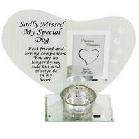 Pet Glass Photo Frame Memorial Tea Light Candle Holder - Dog