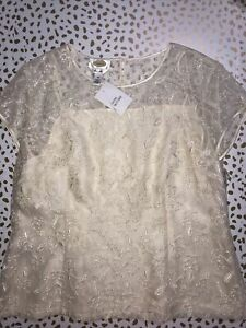 NWT TALBOTS Womens Silk Embroired S/S Top 16