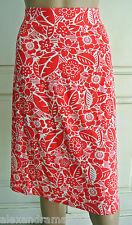 New Ex Maine @ Debenhams White & Coral Pink Floral Print Jersey Skirt 8 - 22
