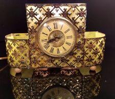 Vintage Mid-Century Modern Lighted Mantle Clock Metal Bow Brass Filigree Retro