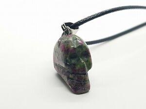 Skull Necklace Ruby Zoisite Healing Stone Gemstone Quartz Skulls Leather Rope