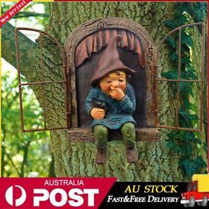 Door Tree Lawn Art Resin Sculpture Outdoor Garden Decor Statue Gnome Ornament AU