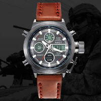 AMST Military Army Men's Sport Leather LED Quartz Wrist Watch Waterproof Xmas